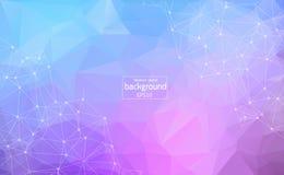 Geometrische Lichtpaarse Veelhoekige molecule en mededeling als achtergrond Verbonden lijnen met punten Minimalismachtergrond Con royalty-vrije illustratie
