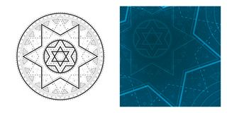 Geometrische Mandala mit Davidsstern in der Mittel- und bunten quadratischen Schablone Rundes Muster für Malbuch Lizenzfreie Stockfotos