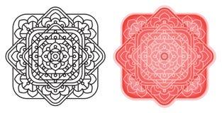 Geometrische Mandala von den Quadraten mit runden cornes Muster für Malbuch Schablonen für Karte, Fahnen, laden ein Stockfotos