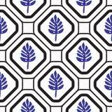 Geometrische mediterrane ruit met patroon van de bladeren het naadloze tegel stock illustratie