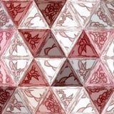 Geometrische Mosaikmusterpastellfarben brünieren, wine, Grenadine und weißes Dreieck vektor abbildung