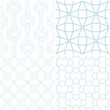 Geometrische Muster Satz blaue Elemente auf Weiß Nahtlose Hintergründe Lizenzfreie Stockfotografie