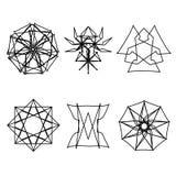 Geometrische Musterikonenlogo-Aufkleberastrologie Lizenzfreies Stockbild
