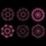 Geometrische Musterikonenstern-Astrologie gesetzter Pentagram Stockfotos