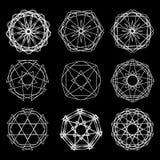 Geometrische Musterikonenstern-Astrologie gesetzter Pentagram Lizenzfreies Stockbild