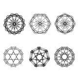 Geometrische Musterikonenstern-Astrologie gesetzter Pentagram Lizenzfreie Stockbilder