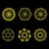 Geometrische Musterikonenstern-Astrologie gesetzter Pentagram Lizenzfreie Stockfotos