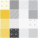Geometrische naadloze patronen: punten, golven, strepen stock illustratie