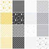 Geometrische naadloze patronen: strepen, golven, punten, royalty-vrije illustratie