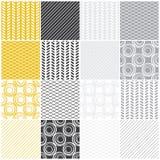 Geometrische naadloze patronen: swaves, cirkels, lijnen stock illustratie