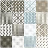Geometrische naadloze patronen: vierkanten, stippen,  vector illustratie