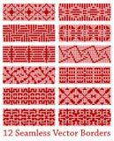 12 geometrische nahtlose Grenzen basiert auf quadratischen Mustern, Vektorillustration Lizenzfreie Stockfotos