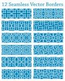 12 geometrische nahtlose Grenzen basiert auf quadratischen Mustern, Vektorillustration Stockfoto