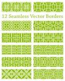 12 geometrische nahtlose Grenzen basiert auf quadratischen Mustern, Vektorillustration Lizenzfreies Stockbild