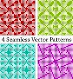 4 geometrische nahtlose Grenzen basiert auf quadratischen Mustern, Vektorillustration Lizenzfreie Stockbilder