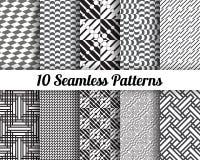Geometrische nahtlose Schwarzweiss-Muster Stockfotografie