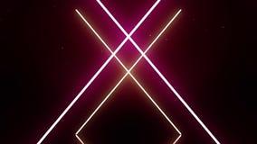 Geometrische Neonlinien Neonanimation auf einem schwarzen Hintergrund Weißes Kreuz glüht c zeichnet rosa Glühen formt geometrisch vektor abbildung