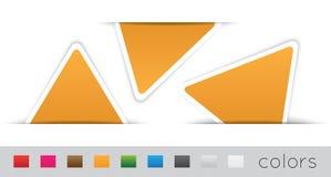 Geometrische oranje etiketten Stock Afbeeldingen