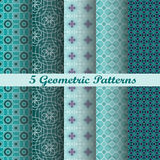 5 geometrische patronen Royalty-vrije Stock Fotografie