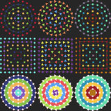 Geometrische patronen op een zwarte achtergrond stock fotografie