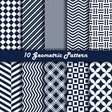 Geometrische patroon vector naadloze blauwe en witte kleur Royalty-vrije Stock Afbeeldingen