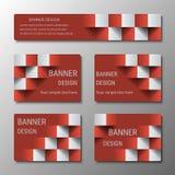 Geometrische rechteckige Fahnen der gleichen Breite mit dem Effekt 3D für Geschäftswebsite Lizenzfreies Stockfoto