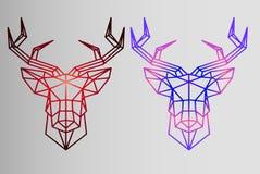 Geometrische reeks - herten - schets van tatoegering - rode herten en de herten van de neongradiënt Royalty-vrije Stock Afbeeldingen