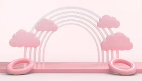 Geometrische Regenbogen-Kreis-Form und Wolken minimal auf rosa Pastellwand der modernen Kunst stock abbildung