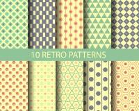 10 geometrische retro patronen Stock Foto's