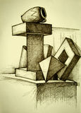 Geometrische ruimtesamenstelling Royalty-vrije Stock Afbeelding