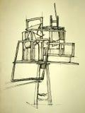 Geometrische ruimtesamenstelling stock illustratie