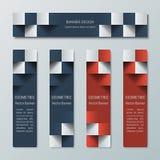 Geometrische schmale horizontale und vertikale Fahnen mit dem Effekt 3D für eine Geschäftswebsite Lizenzfreie Stockfotos