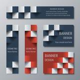 Geometrische schmale vertikale und breite horizontale rechteckige Fahnen mit Effekt 3d für eine Geschäftswebsite Lizenzfreie Stockbilder