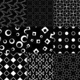 Geometrische Schwarzweiss-Verzierungen Ansammlung nahtlose Muster Lizenzfreies Stockbild