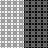 Geometrische Schwarzweiss-Verzierungen Set nahtlose Muster Lizenzfreies Stockbild