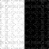 Geometrische Schwarzweiss-Verzierungen Set nahtlose Muster Stockbild