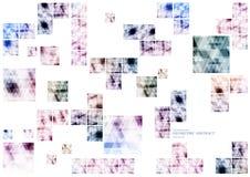 Geometrische technologische verschiedene Verbindungsquadrat-Zusammenfassungsrückseite Stockfotografie