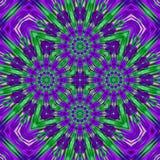 Geometrische ultraviolet en groen abstracte bloemen en sneeuwvlokkenpatroon royalty-vrije illustratie