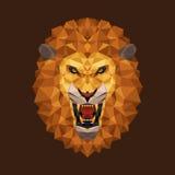 Geometrische, Vectorillustratie van de leeuw de hoofdveelhoek stock illustratie