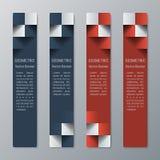 Geometrische vertikale schmale rechteckige Fahnen mit Effekt 3d für eine Geschäftswebsite Stockfoto