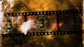 Geometrische Verzierung auf einem alten Papier Alter Film-Count-down, verkratzter Filmstreifen stock video footage