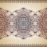Geometrische Verzierung auf einem alten Papier Retro- Grußkarte, Stockfotos