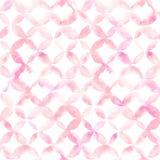 Geometrische Verzierung von rosa Blumenblättern auf weißem Hintergrund Nahtloses Muster des Aquarells Stockfotografie