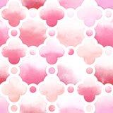Geometrische Verzierung von rosa Farben mit quatrefoil und Kreis auf weißem Hintergrund Nahtloses Muster des Aquarells Stockfoto