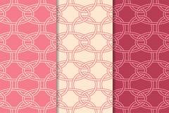 Geometrische Verzierungen des Kirschrotes Set nahtlose Muster Stockbild