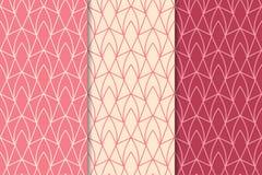 Geometrische Verzierungen des Kirschrotes Set nahtlose Muster Lizenzfreie Stockfotografie