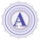 Geometrische Verzierungen des Vektors Guilloche-Rosetten mit Buchstaben A Stockfoto