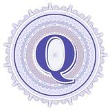 Geometrische Verzierungen des Vektors Guilloche-Rosetten mit Buchstaben Q Stockfoto