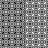 Geometrische Verzierungen Nahtloses Schwarzweiss-Muster Stockfotografie