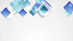 Geometrische videoanimatie van glas de blauwe abstracte vierkanten stock footage